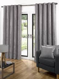 velvet ready made eyelet curtains grey free uk delivery terrys