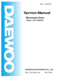 daewoo service manual microwave oven model koc 1b0k0s switch