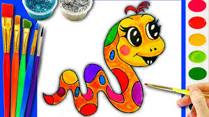 learn how to draw and color cute baby animals coloring page snake