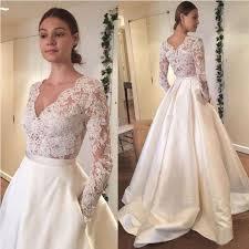 long sleeves lace v neck elegant inexpensive long wedding dresses