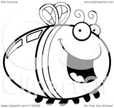 cartoon clipart of an outlined happy firefly lightning bug black