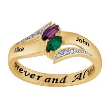 name rings for 10k yellow gold couples engravable birthstone and name ring
