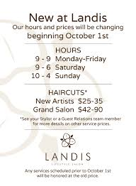 new hours pricing starting oct 1st landis salon