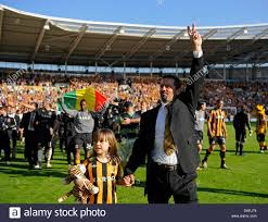 hull manager phil brown and his celebrate as hull