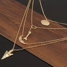 multi layer necklace images Arrows gold multilayer necklace kuellos jpg