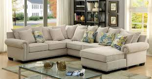 Fabric Sectional Sofas Skyler Ii Sectional Sofa Cm6156 In Ivory Fabric W Options