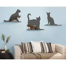 cat silhouette cat shelf set of 3
