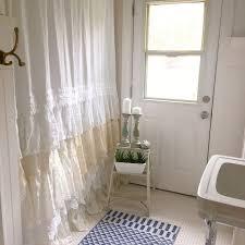 Shabby Chic Window Treatment Ideas by Lace Ruffle Shower Curtain Bohemian Shabby Chic Bathroom My Bath