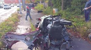 Black Mustang Crash Mustang Is Destroyed In Seattle Crash But Driver Walks Away