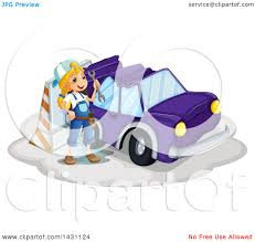 wrecked car clipart clipart of a caucasian mechanic by a wrecked car royalty free