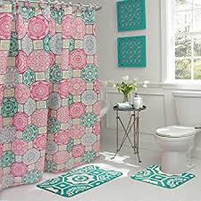 Pink Green Shower Curtain Bath Fusion 15 Bathroom Shower Set Pink