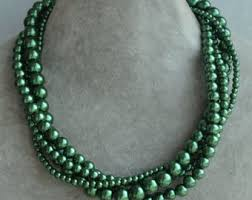 green pearls necklace images Dark green necklace etsy jpg
