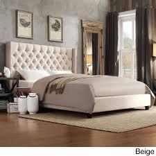 Linen Upholstered King Headboard Tufted Linen Headboard Tufted Fabric Headboard King Ivory Fabric
