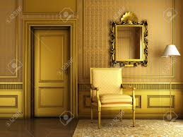 interior scene of luxury living room with lots of golden molding