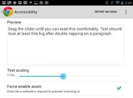 android textsize how to take of text size in chrome for the nexus 7