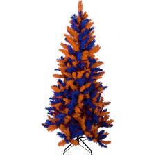 orange and blue tree lights decoration