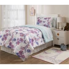 Eiffel Tower Comforter Mainstays Kids Paris Lavender Bed In A Bag Bedding Set Walmart Com