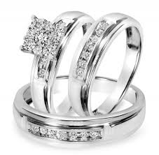 3 8 carat t w trio matching wedding ring set 14k yellow gold 1 2 ct t w trio matching wedding ring set 14k white gold