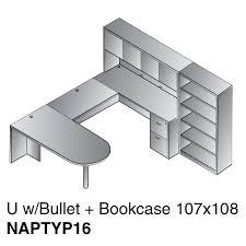 Desk Hutch Bookcase U Shape Bullet Desk W Hutch Bookcase 107x108 Cherry Or Mahogany