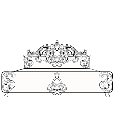 baroque royal bed with damask ornaments stock vector image 72955803