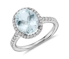 aquamarine and diamond ring aquamarine and diamond halo ring in 18k white gold 10x8mm blue