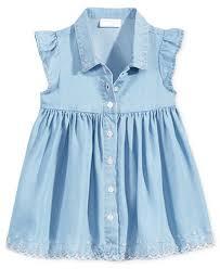 impressions flutter sleeve denim dress baby 0 24