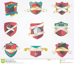 set of 9 shield badges design template stock vector image 63217891