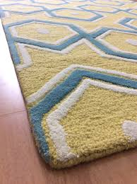 Area Rugs Modern Handmade Wool Modern Yellow Blue 5x8 Lt1110 Area Rug