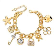 gold plated charm bracelet chain images Fashion heart beetle charm bracelets bangles for women real gold jpg