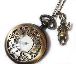 pendant pocket watch necklace images Alice in wonderland pocket watch necklace chain vintage style mr jpg