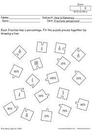 primaryleap co uk fractions and percent worksheet