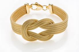 gold love knot bracelet images Silver bracelet with calza chain and love knot gold plated jpg