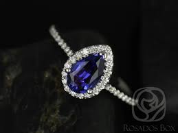sapphire halo engagement rings rosados box 8x5mm 14kt white gold pear blue sapphire and