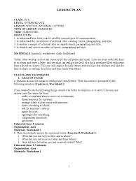 writing informal letters paragraph lesson plan