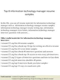 resume information technology manager resume for information technology