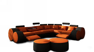 Sectional Couch With Ottoman by Modern Orange And Black Leather Sectional Sofa And Coffee Table