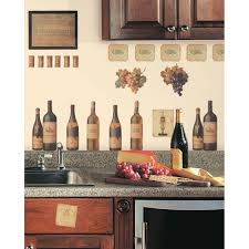 kitchen design mural backsplash tile wine decorations for kitchen painted wall wine decorations for kitchen and gray granite countertop also small black framed picture