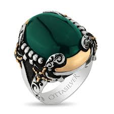 rings with stone images Exclusive green aqeeq stone silver ring with double swords figure jpg