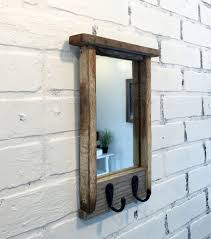 entryway mirror with two coat hooks rustic reclaimed wood coat