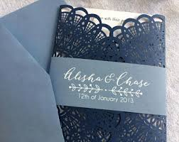 wedding invitations blue slate blue dusty blue laser cut pocket wedding invitation