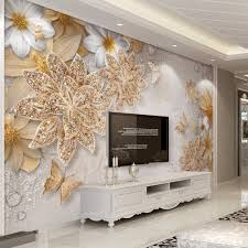 popular custom wallpaper printing buy cheap custom wallpaper custom mural wallpaper for bedroom walls 3d luxury gold jewelry flower butterfly background wall papers home