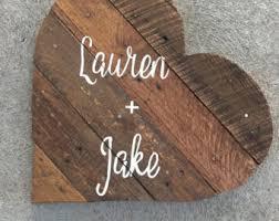 Pallet Wedding Decor Wooden Heart Sign Etsy