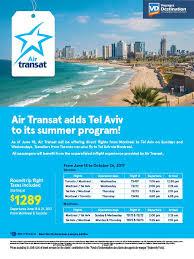 Air Transit Kitchener - new air transat adds tel aviv to its summer program voyages