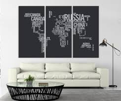 World Map Canvas Art by Large Triptych Art Typography World Map Canvas Print Large Type