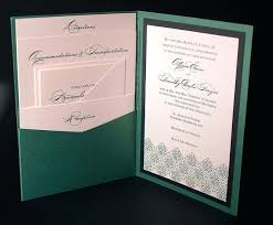 invitation pockets folding wedding invitations with pockets modern simple green