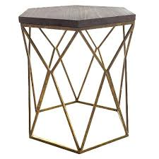 Hexagon Side Table Chester End Table Gold Metal Hexagon Really Loving The Geometric