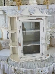 large vintage country farmhouse wall curio cabinet shelf creamy