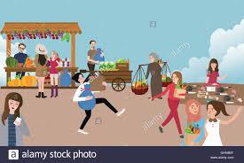 Verkaufen Kaufen Traditionellen Offenen Marktaktivität Beschäftigt Leute Verkaufen