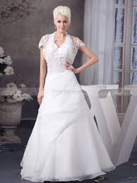wedding dress jacket appliqued halter v neck wedding dress with lace jacket