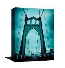 Teal Blue Home Decor Stunning Museum Quality Canvas Print Saint Johns Bridge